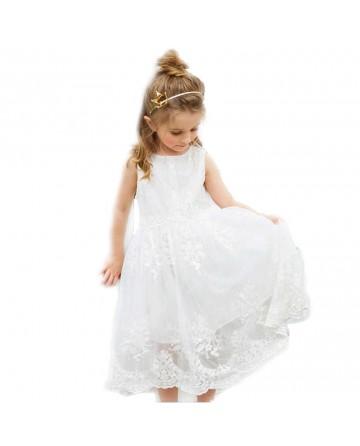 Girl's Beige Sleeveless Lace Dress
