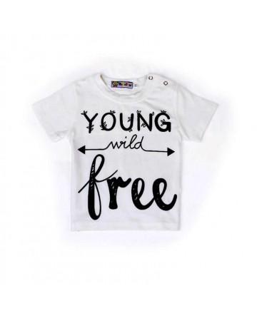 Summer girls white round neck short sleeve T shirt