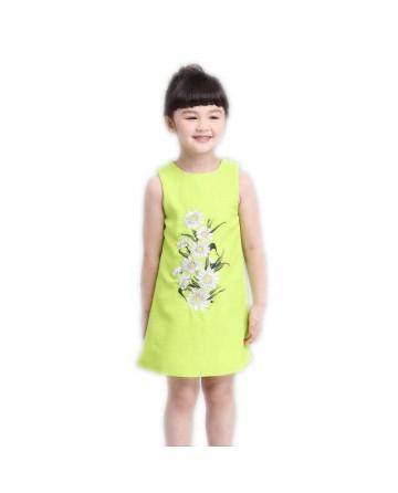 Girls chrysanthemum embroidery jumper dress