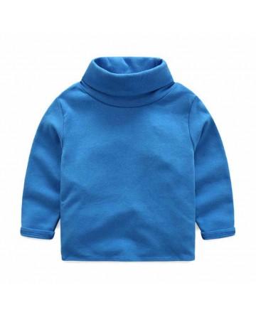 2017 Spring boys' blue warm bulky turtleneck.