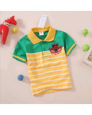 kid's striped short sleeve polo shirt