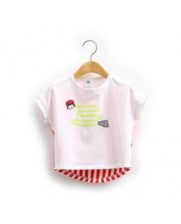 Girl Striped Cartoon Short Sleeve T-Shirt