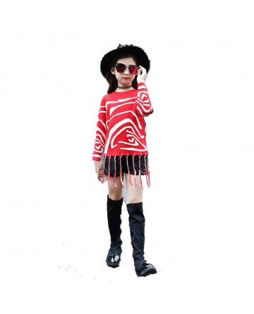 Girls fashion casual striped woven tassel pattern sweater