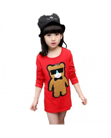 Girls round neck long sleeves patch small bear graphic shirt