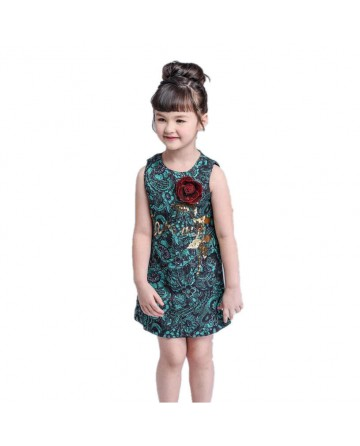 Kids rose jacquard green dress