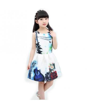 New 2017 summer girls sleeveless skirt printed stitching a-line dress
