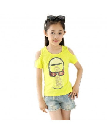 Girl's solid color cartoon strapless short sleeve T-shirt