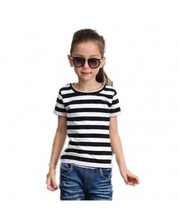 Girl black and white striped cotton short sleeve t-shirt