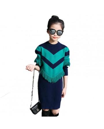 Girl's new fashion thick round neck tassel college wind sweater