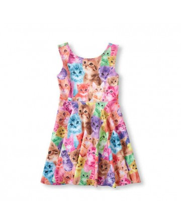 Girl kitten sleeveless dress