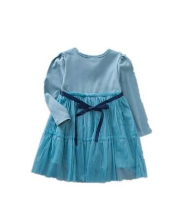 2017 New Girls cotton shirt net yarn stitch dress