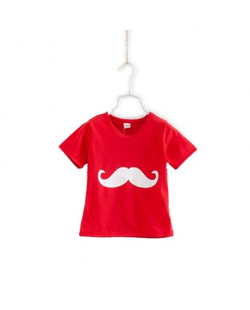 "Summer simple section ""mustache"" girl T-shirt"