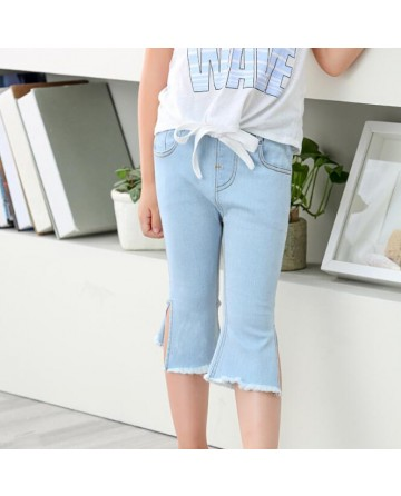 New 2017 summer girls cut jeans hue elastic slim pants