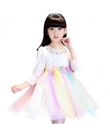 New 2017 summer girls long sleeve dresses, INS colorful dress