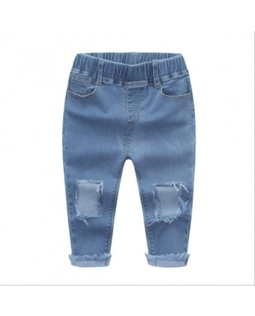 New 2017 summer light blue girls hole denim capri-pant