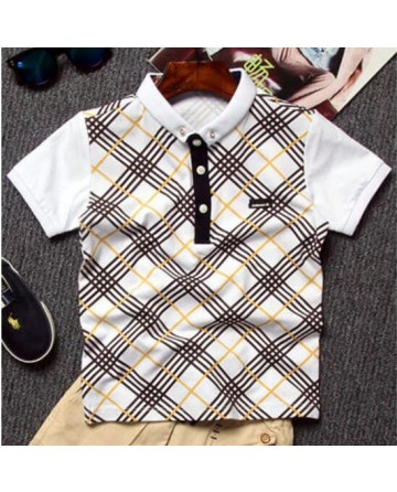 boy's plaid lapel half-sleeve polo shirt