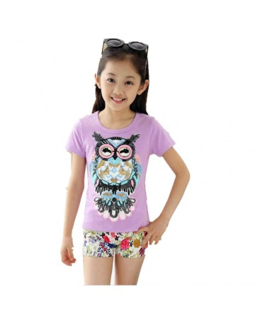 Girl's sequins owl solid color short sleeve T-shirt