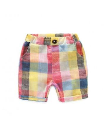 Boy's thin section linen tan rainbow shorts