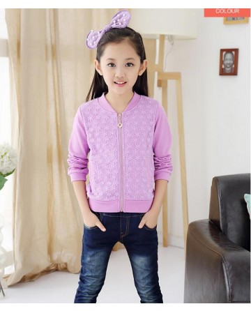 2017 New girls' zipper lace jacket