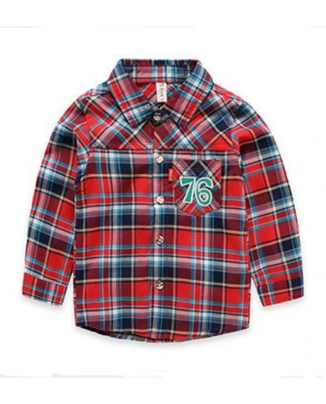 boys embroidery '76' long-sleeved shirt
