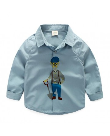 Boy's cartoon lapel long sleeve shirt