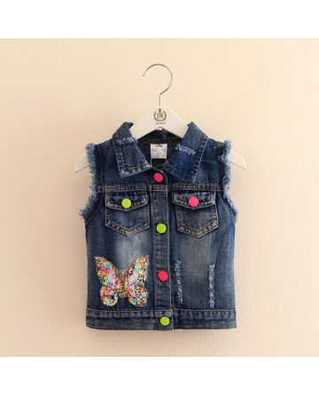 2017 New girls' sequin butterfly cowboy vest