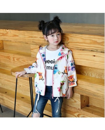 2017 Spring girls' owl printed hooded  jacket