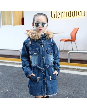 2017 Spring girls' velvet hooded denim jacket