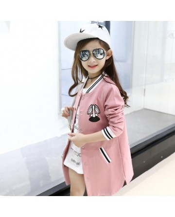 2017 spring girls' pink embroidery coat/jacket