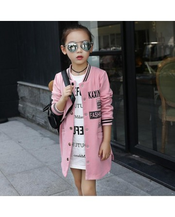 Girl's letter printed hue baseball jackets