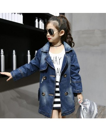 2017 Spring girls' simple section fashion cowboy coat