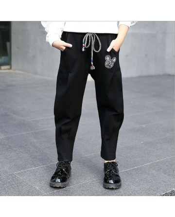 Girl's fashion black cartoon tie rope collapse pants