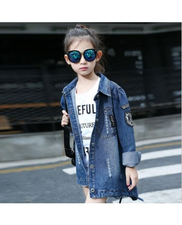 2017 Spring girls fashion sequin denim jacket