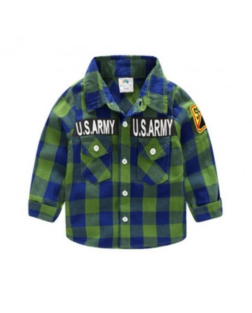 boy's letter prints checkered shirt