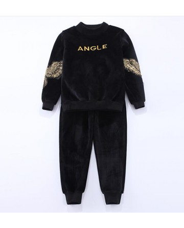 Girl's black embroidery 'angle' sports set