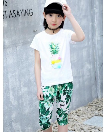 2017 Summer girls' cotton pineapple print short sets