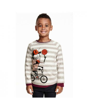 kids Boy's cartoon stripe print long sleeves t-shirt