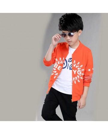 Boy's zipper printed jacket sports sets