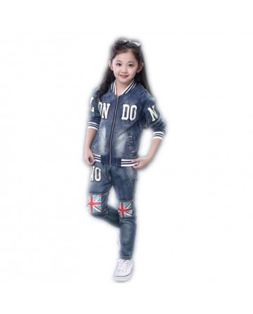 2017 new girls blue letters cowboy suit