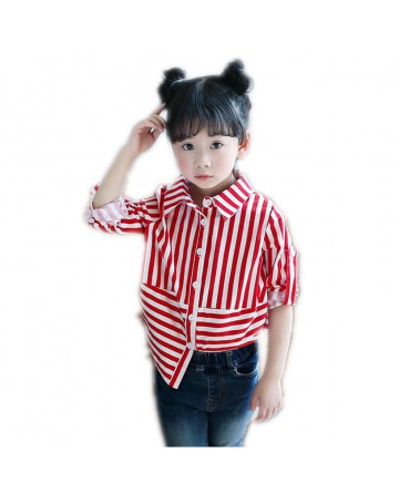 2017 summer new girl's black and white striped shirt