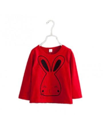 Girl's solid color cartoon rabbit t-shirt