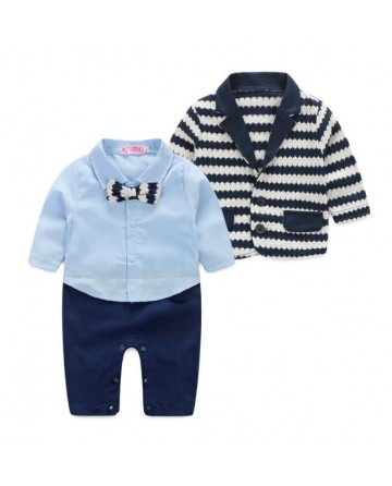Boy's long sleeves piecemeal suit piecemeal and striped sweaters