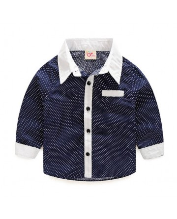 Spring Boy's Fashion polka dots Long-Sleeve Shirt