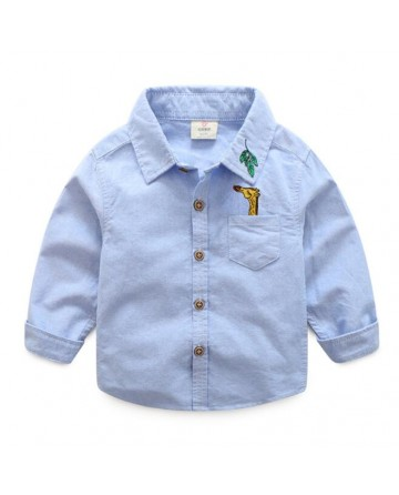 Spring new boy's lapel long sleeves shirt