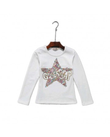 Girls spring new sequins five-pointed star long-sleeved shirt