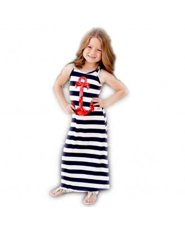 New 2017 girls stripes sleeveless dress black&white striped Parent-child skirt
