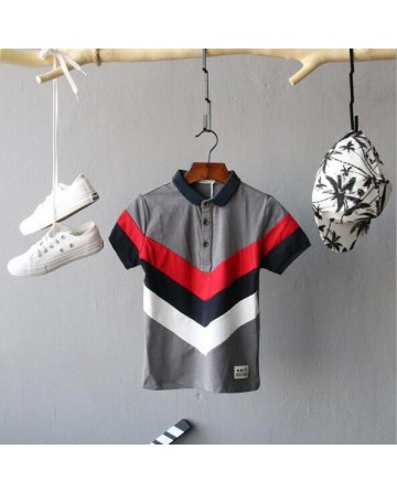 "Boy's summer ""V"" shaped striped half-sleeved polo shirt"