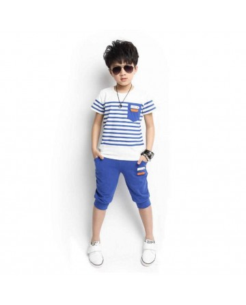 2017 Summer striped short sets for boys