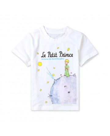 Girls white little prince print t-shirt