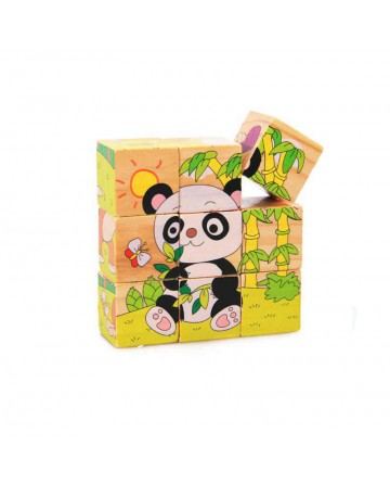 wooden block toys kids 3D cubes six-sided puzzle